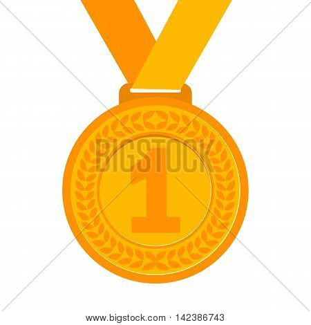 Gold Medal for the champion in the first place. Flat icon, vector illustration