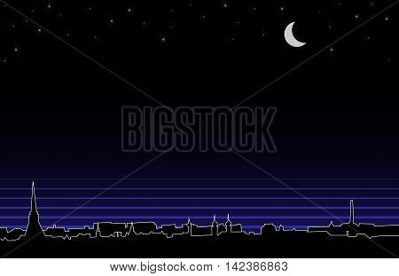 Vector silhouette background of night european panorama.