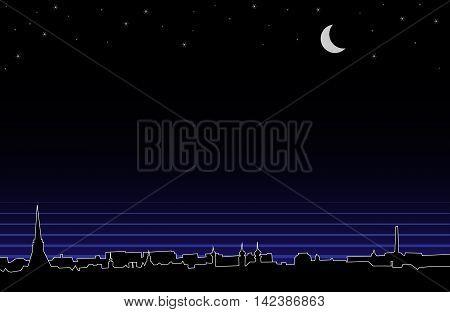Vector silhouette background of night european panorama.
