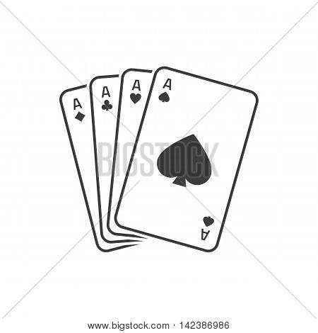 Vector flat isolate game cards icon. Four playing cards icon. Vector illustration of 4 aces. Eps10