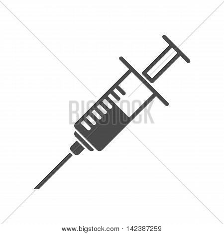 Syringe vector icon in flat style. Vector illustration of a syringe.