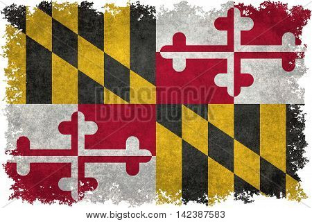 Maryland State flag with distressed grungy textures and edges