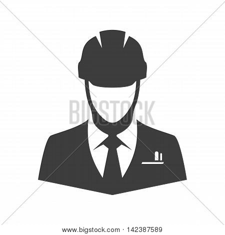 Engineer vector icon. Illustration of engineer isolated on white background in flat style. Icon of man in a construction helmet.