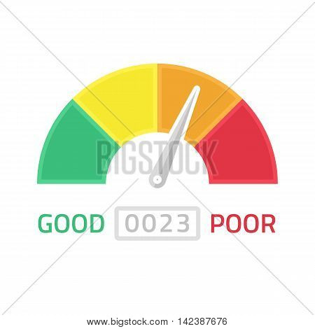 Vector illustration of credit score gauge. Speedometer icon in flat style. Performance Meter. EPS 10.