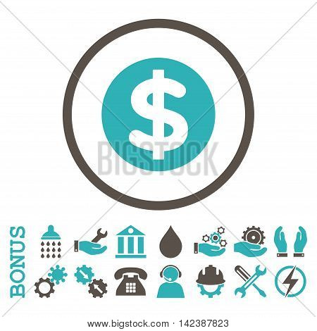 Finance vector bicolor icon. Image style is a flat pictogram symbol inside a circle, grey and cyan colors, white background. Bonus images are included.