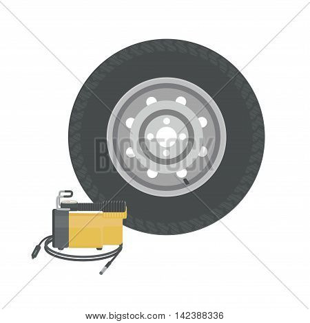 Spare wheel and car compressor. Pump wheels. Vector illustration.