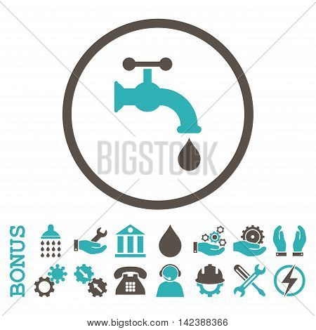 Water Tap vector bicolor icon. Image style is a flat pictogram symbol inside a circle, grey and cyan colors, white background. Bonus images are included.