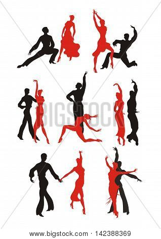 lady and gentleman dance pasodoble. ballroom dancing couple Set