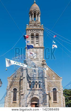 Fishing Net Spread Outside A Church