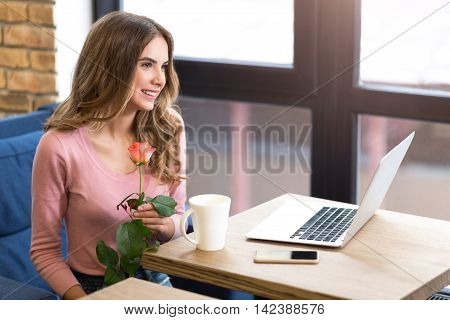 Nice surprise. Delighted charming smiling woman sitting at the table and holding rose while expressing gladness