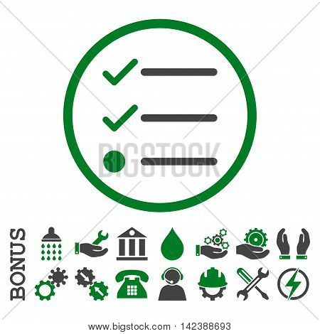 Checklist vector bicolor icon. Image style is a flat pictogram symbol inside a circle, green and gray colors, white background. Bonus images are included.