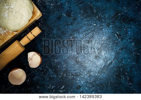 Dough, Rolling Pin And Eggshell