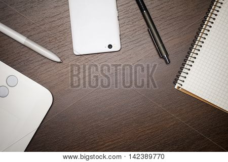 Creative business workspace background, top view. Objects on desktop