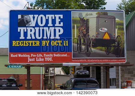 Quarryville PA - August 12 2016: A large billboard in Lancaster County seeks to register Amish voters to support Donald Trump for President.