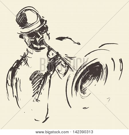 Illustration for jazz poster. Man playing saxophone. Vintage hand drawn sketch.