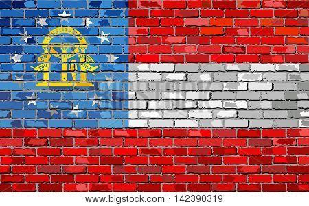 Flag of Georgia on a brick wall - Illustration,  The flag of the state of Georgia on brick textured background,  Georgia Flag in brick style
