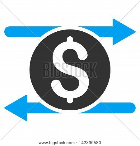 Money Exchange icon. Vector style is bicolor flat iconic symbol with rounded angles, blue and gray colors, white background.