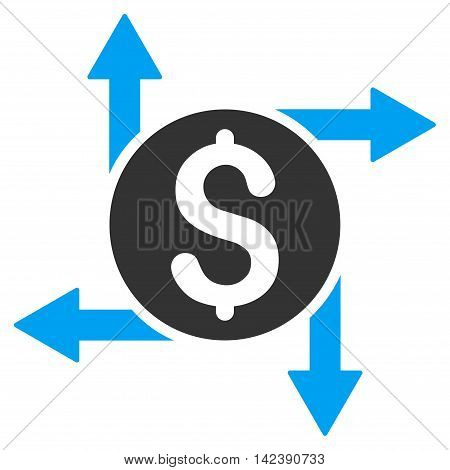 Spend Money icon. Vector style is bicolor flat iconic symbol with rounded angles, blue and gray colors, white background.