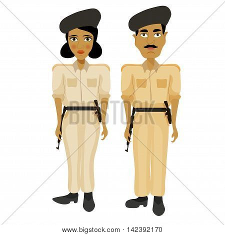 India Couple Woman Police Officers And A Policeman. Vector Illustration