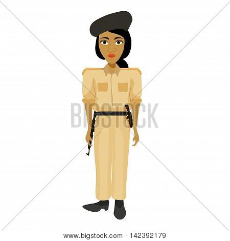 India Officers Woman, Policeman Girl. Vector Illustration