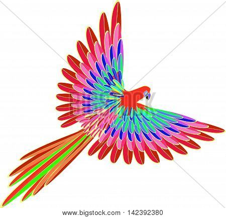 Caribbean Bright Red The Parrot Flying. Vector Illustration