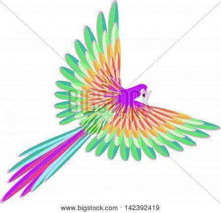 Purple Caribbean The Parrot Flying. Vector Illustration