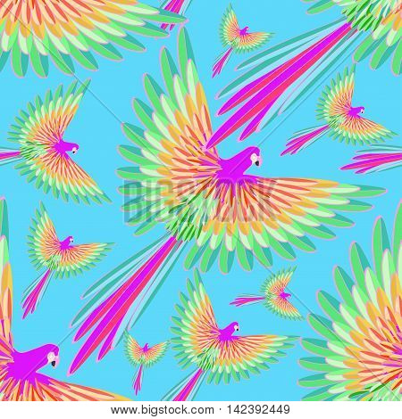 Seamless Pattern Of The Caribbean Parrot Flying On A Background Of The Sky. Vector Illustration