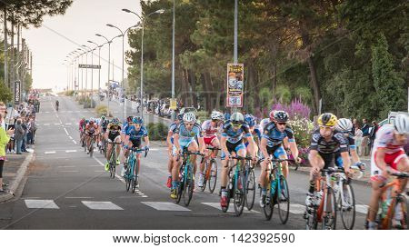 Professional Cycling Peloton During A Night Race