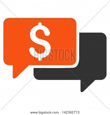Price Bids icon. Vector style is bicolor flat iconic symbol with rounded angles, orange and gray colors, white background.