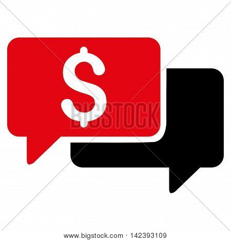 Price Bids icon. Vector style is bicolor flat iconic symbol with rounded angles, intensive red and black colors, white background.