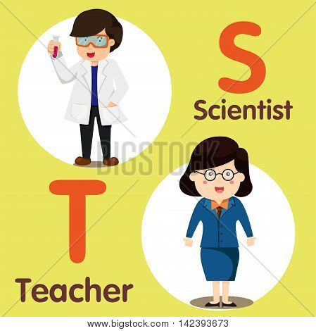 Illustrator of professional character Scientist and teacher