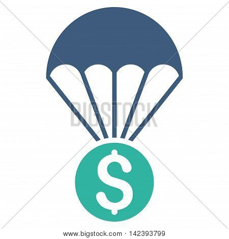 Financial Parachute icon. Vector style is bicolor flat iconic symbol with rounded angles, cobalt and cyan colors, white background.