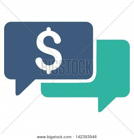 Price Bids icon. Vector style is bicolor flat iconic symbol with rounded angles, cobalt and cyan colors, white background.