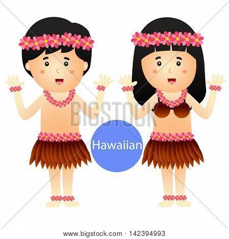 Illustrator of Hawaiian Boy and Girl vector isolated on white background