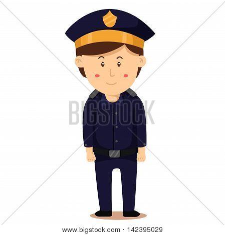 Illustrator of police man on white background