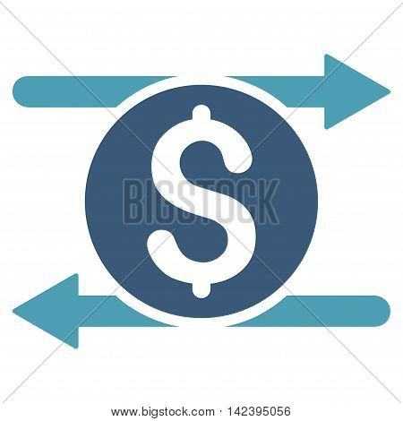 Money Exchange icon. Vector style is bicolor flat iconic symbol with rounded angles, cyan and blue colors, white background.