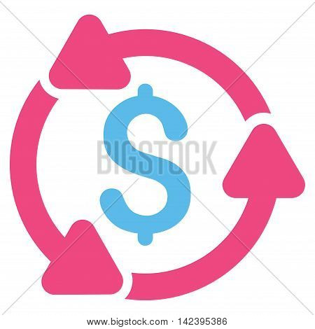 Money Turnover icon. Vector style is bicolor flat iconic symbol with rounded angles, pink and blue colors, white background.