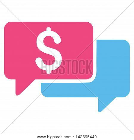 Price Bids icon. Vector style is bicolor flat iconic symbol with rounded angles, pink and blue colors, white background.