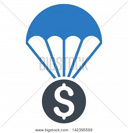 Financial Parachute icon. Vector style is bicolor flat iconic symbol with rounded angles, smooth blue colors, white background.