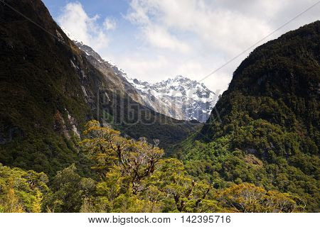 The valley to the mountain peak, New Zealand.