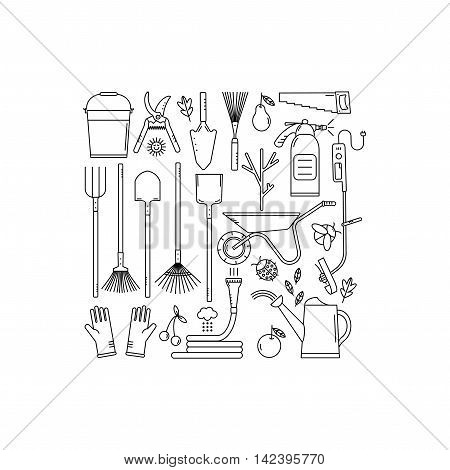 Set of garden tools on white background. Isolated working equipment.  Line style icons.