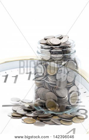 coins saving vs time concept in double expose technic