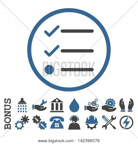 Checklist vector bicolor icon. Image style is a flat pictogram symbol inside a circle, cobalt and gray colors, white background. Bonus images are included.