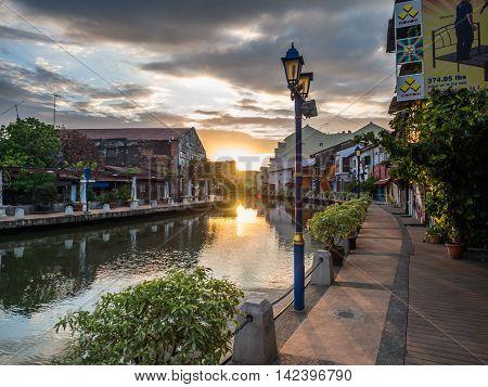 Malacca, Malaysia - February 29: Early Morning With Sunrise Along The Riverside On February 16, 2016