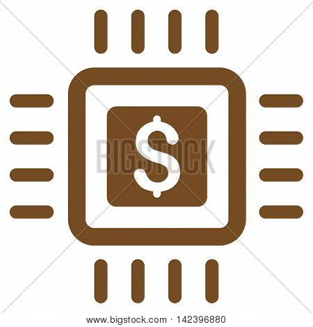 Processor Price icon. Vector style is flat iconic symbol with rounded angles, brown color, white background.
