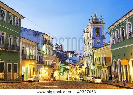 Salvador da Bahia, Brazil - April 8, 2015: View of colourful colonial houses at the historic district of Pelourinho in Salvador da Bahia, Brazil.