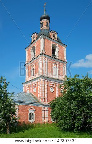 The old bell tower of the Epiphany Church of the Assumption Goritsky monastery sunny day in july. The Golden ring of Russia