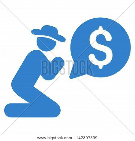 Pray for Money icon. Vector style is flat iconic symbol with rounded angles, cobalt color, white background.
