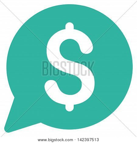 Bid icon. Vector style is flat iconic symbol with rounded angles, cyan color, white background.