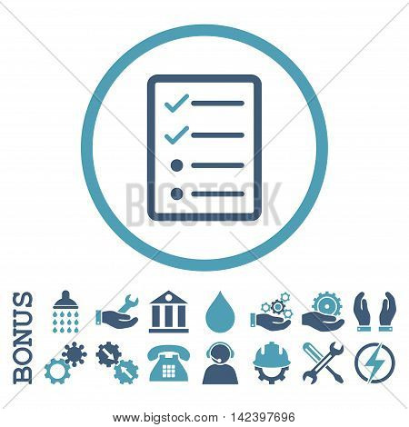 Checklist Page vector bicolor icon. Image style is a flat pictogram symbol inside a circle, cyan and blue colors, white background. Bonus images are included.